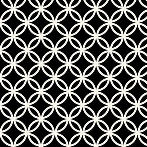 Fretwork circles, off-white on black by Su_G