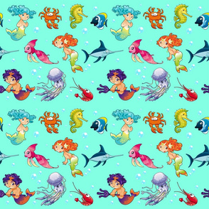 Funny sea animals with mermaids and background