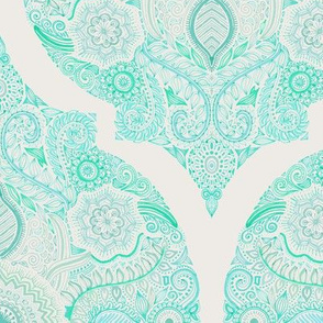 Doodle Mint Moroccan on Pale Grey