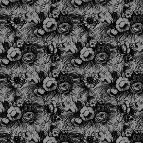 Grunge Floral Grey