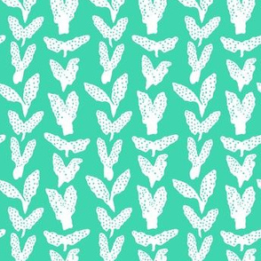 Seaweed Chevron, white on tropical sea green