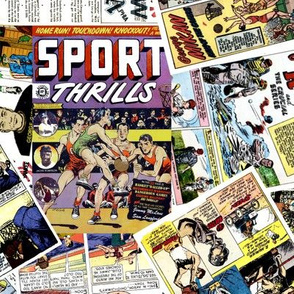 vintage comic book sports - LARGE PRINT