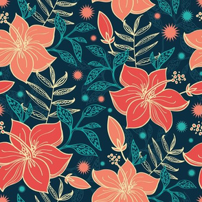 Vibrant tropical flowers seamless