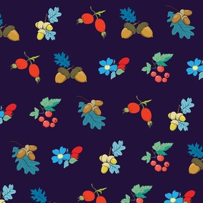 Dark blue colorful berries nuts seamless pattern. Rosehip Berry Acorn Oak Blueberry