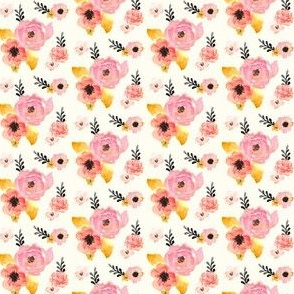 Mini - Floral Dreams in Pink Yellow Black & Coral