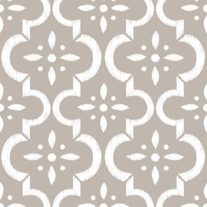Warm Gray Ikat Moroccan Flower