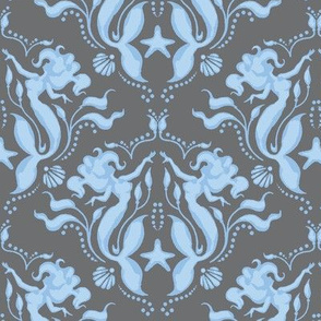 Mermaid Damask - grey/blue