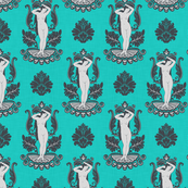 Venus Damask Gray on Turquoise