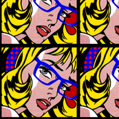 31 pop art comics girls vintage retro roy lichtenstein inspired blue spectacles glasses red polka dots