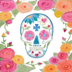 Watercolor Sugar Skull with Roses