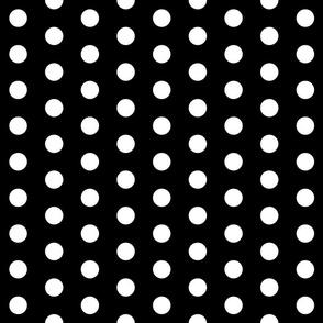 Polka Dots - 1 inch (2.54cm) - White (#FFFFFF) on Black (#000000)