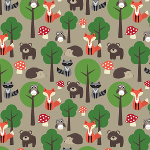 Woodland Animals Tan