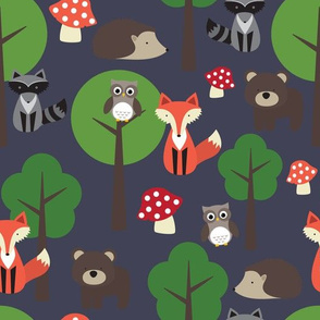 Woodland Animals On Navy