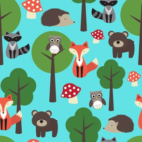 Woodland Animals On Aqua