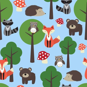 Woodland Animals Baby Blue