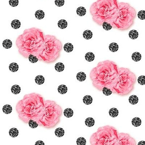 Black Glitter Dots with Roses Half Scale