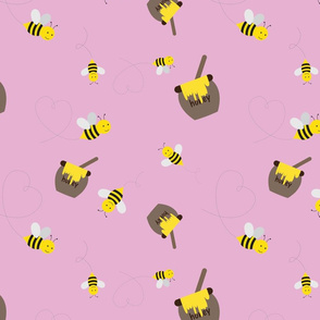 Honey Bees on Pink
