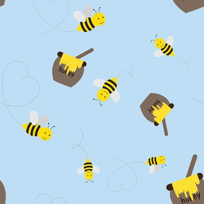 Honey Bees on Baby Blue