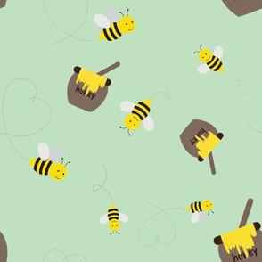 Honey Bees on Green