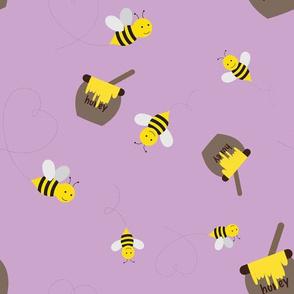 Honey Bees on Purple