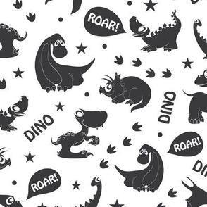 Black and White Dinosaurs Roaring Seamless Pattern. Stegosaurus, Tyrannosaurus, Diplodocus, Pterodactyl