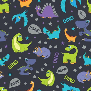 Dinosaurs Roaring Seamless Pattern. Stegosaurus, Tyrannosaurus, Diplodocus, Pterodactyl