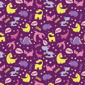 Girly Dinosaurs Roaring Seamless Pattern