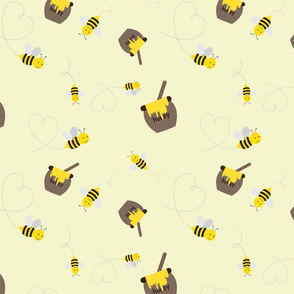 Honey Bees on Yellow