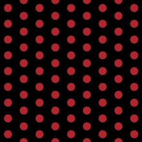 Polka Dots - 1 inch (2.54cm) - Dark Red (#b1252c) on Black (#000000)