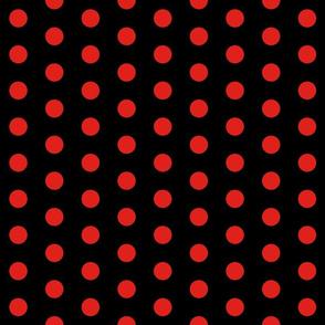 Polka Dots - 1 inch (2.54cm) - Red (#e0201b) on Black (#000000)