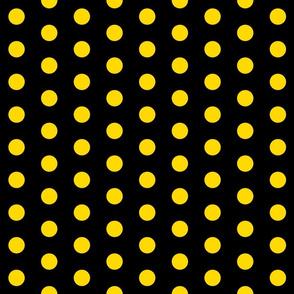 Polka Dots - 1 inch (2.54cm) - Yellow (#ffd900) on Black (#000000)