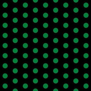Polka Dots - 1 inch (2.54cm) - Dark Green (#00813C) on Black (#000000)