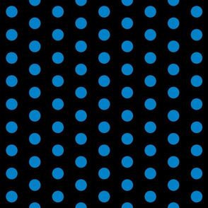 Polka Dots - 1 inch (2.54cm) - Light Blue (#0081c8) on Black (#000000)
