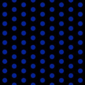 Polka Dots - 1 inch (2.54cm) - Dark Blue (#002398) on Black (#000000)