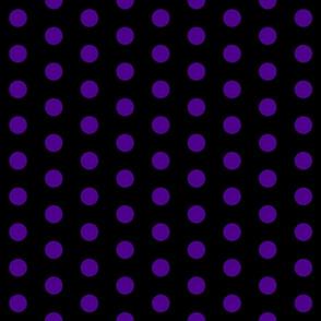 Polka Dots - 1 inch (2.54cm) - Dark Purple  (# 4d008a) on Black (#000000)