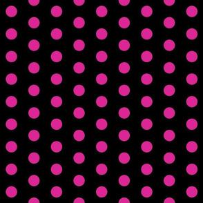 Polka Dots - 1 inch (2.54cm) - Pink (#dd2695) on Black (#000000)