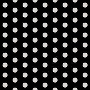 Polka Dots - 1 inch (2.54cm) - Grey (#d9d6d4) on Black (#000000)