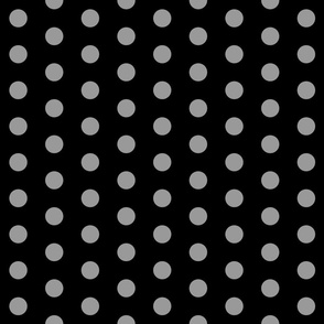 Polka Dots - 1 inch (2.54cm) - Grey (#99999a) on Black (#000000)