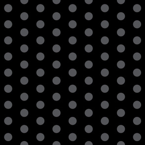 Polka Dots - 1 inch (2.54cm) - Grey (#545559) on Black (#000000)