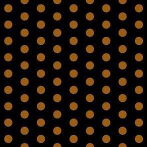 Polka Dots - 1 inch (2.54cm) - Brown (#995e13) on Black (#000000)