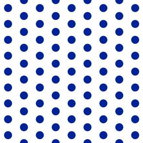 Polka Dots - Dots 1 inch (2.54 cm) - Spacing 2 inch (5.08cm) - Blue (#002398) on White (#FFFFFF)