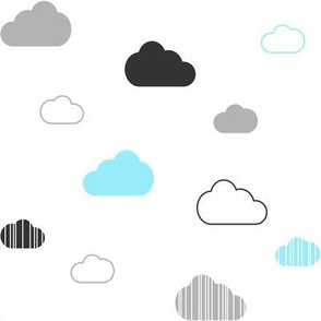 Gray Charcoal Aqua Clouds on White