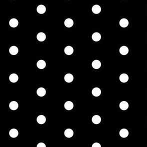 Polk Dots - 0.5 inch (1.27 cm) - White on Black