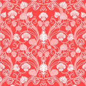 lotus damask bright coral