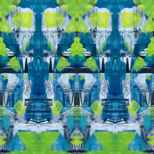 """Blue Green & Chartreuse Zen Pattern"""