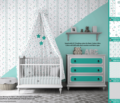 Crayon Chevron Aqua Grey