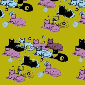 Olive, purple, light blue cats