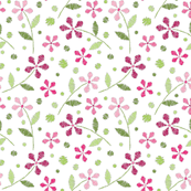Crayon Flowers 2 Pink Green