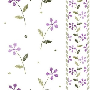 Crayon Flowers Stripes Purple Olive