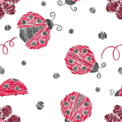 Crayon Lady Bugs Small Red Grey
